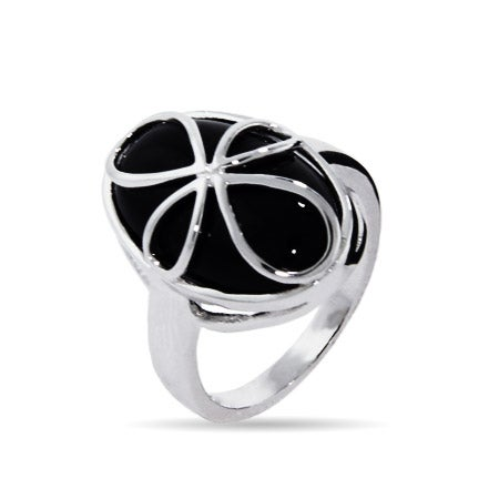 Sterling Silver Cross Ring with Inlaid Onyx | Eve's Addiction®