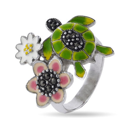 Designer Inspired Enamel Nature Turtle Ring | Eve's Addiction®