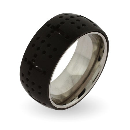 Black Plate Dotted Cross Engravable Message Ring | Eve's Addiction®