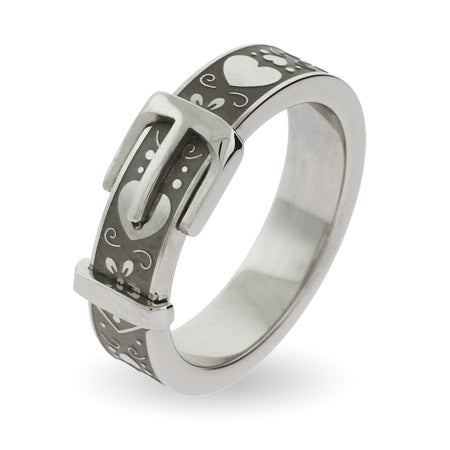 Sweethearts Engravable Belt Buckle Ring | Eve's Addiction®
