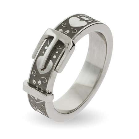 Sweethearts Engravable Belt Buckle Ring