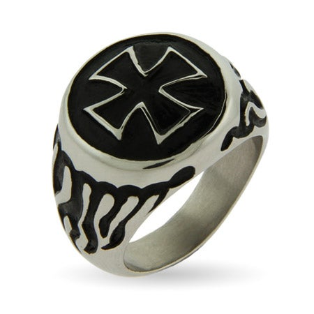 Men's Iron Cross and Flames Stainless Steel Ring | Eve's Addiction®