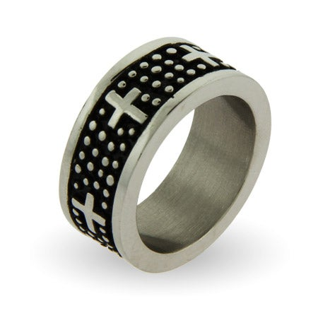 Men's Engravable Stainless Steel Oxidized Band with Crosses | Eve's Addiction®