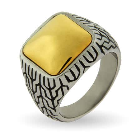 Men's Gold Cushion Bali Ring