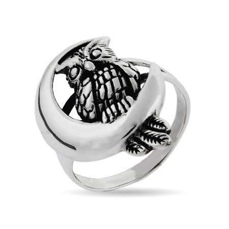 Sterling Silver Midnight Owl Ring