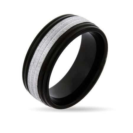 Men's Black Plate Band With Silver Trim | Eve's Addiction®