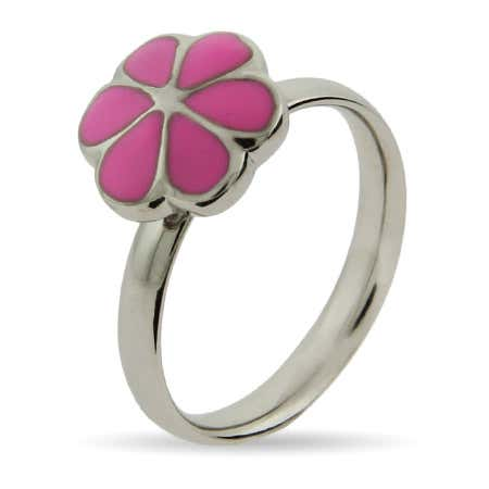 display slide 1 of 2 - Pink Magnolia Enamel Stackable Ring | Eve's Addiction® - selected slide