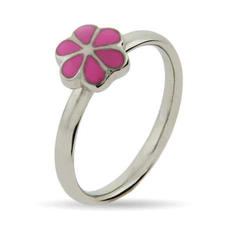 Petite Pink Magnolia Stackable Ring