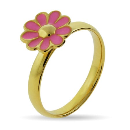 Stackable Reflections Gold Vermeil Pink Daisy Stackable Ring | Eve's Addiction®