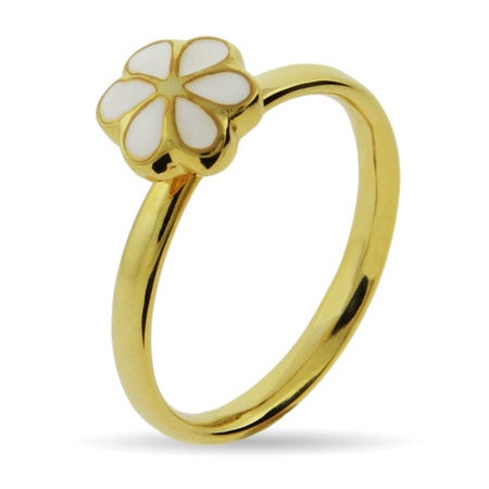 Petite White Magnolia Gold Vermeil Stackable Ring | Eve's Addiction®