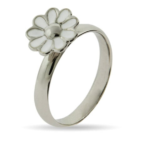 Sterling Silver and White Enamel Daisy Stackable Ring | Eve's Addiction