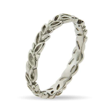 Silver Leaves Thin Stackable Band