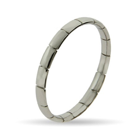 Thin Ribbed Silver Stackable Ring | Eve's Addiction®