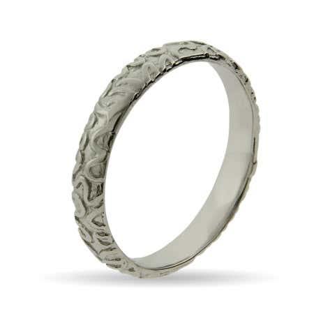 Engraved Zig Zag Silver Stackable Band | Eve's Addiction®