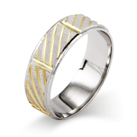 Golden Modern Sterling Silver Wedding Ring | Eve's Addiction®