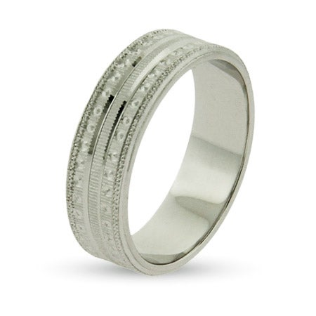 1/4 Inch Wide Stippled Wedding Band in Sterling Silver | Eve's Addiction®