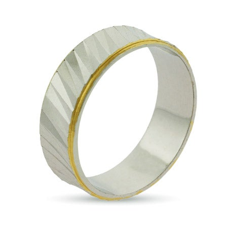 Eternity by Eve Gold Lined Ridged Sterling Silver Wedding Ring | Eve's Addiction®