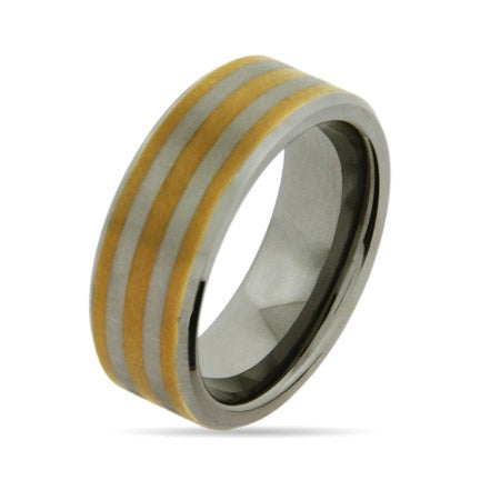 Gold Stripe Engravable Tungsten Band | Eve's Addiction®