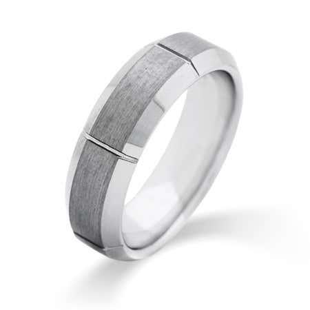 Men's Vertical Cut Engravable Tungsten Ring | Eve's Addiction®