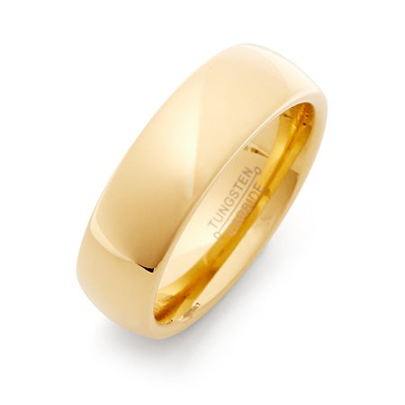 7 mm Gold Engravable Comfort Fit Tungsten Band | Eve's Addiction®