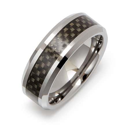 Engravable Men's Black Carbon Fiber Tungsten Ring
