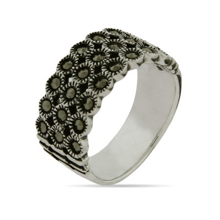 Triple Row Sterling Silver Marcasite Band | Eve's Addiction®