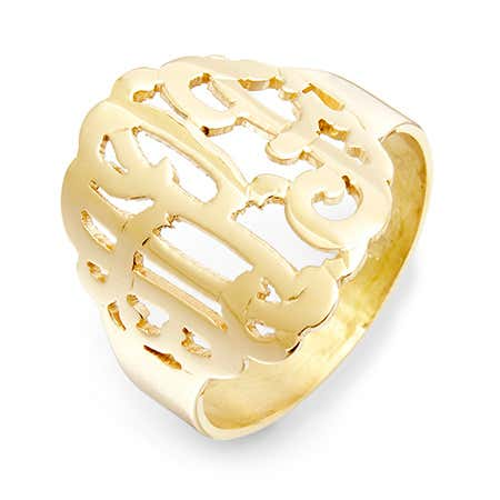 display slide 1 of 5 - Gold Vermeil Custom Monogram Ring - selected slide