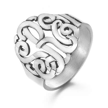 Sterling Silver Custom 3 Initial Monogram Ring | Eve's Addiction®