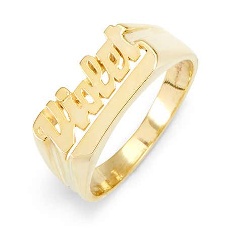 display slide 1 of 2 - Celebrity Inspired Gold Vermeil Name Ring - selected slide