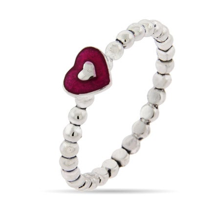 Stackable Enamel Heart Ring