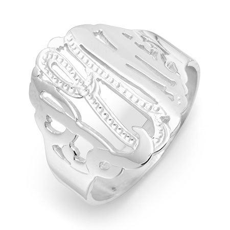 Sterling Silver Diamond Cut Custom Monogram Ring | Eve's Addiction®