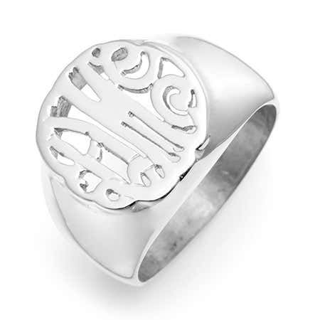 Custom Monogram Signet Ring in Sterling Silver
