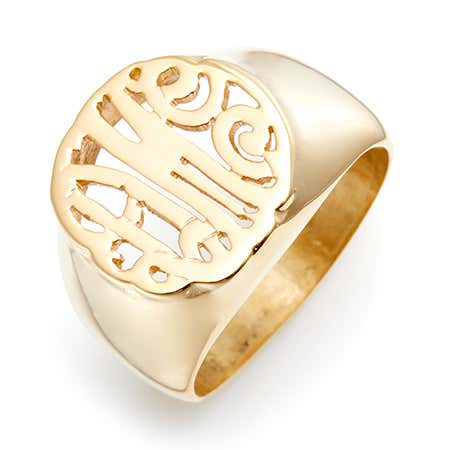 display slide 1 of 4 - Gold Vermeil Custom Monogram Signet Ring - selected slide