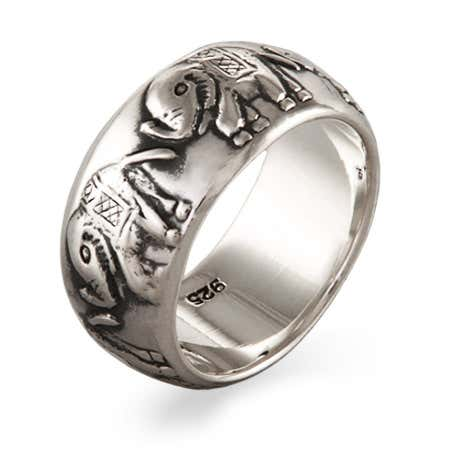 Parade of Elephants Sterling Silver Band