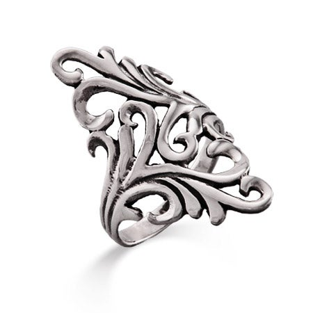 Long Ornate Design Sterling Silver Ring   Eve's Addiction®