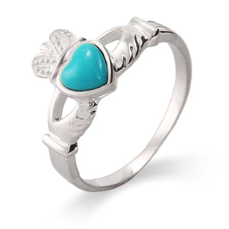 Sterling Silver Turquoise Claddagh Ring | Eve's Addiction