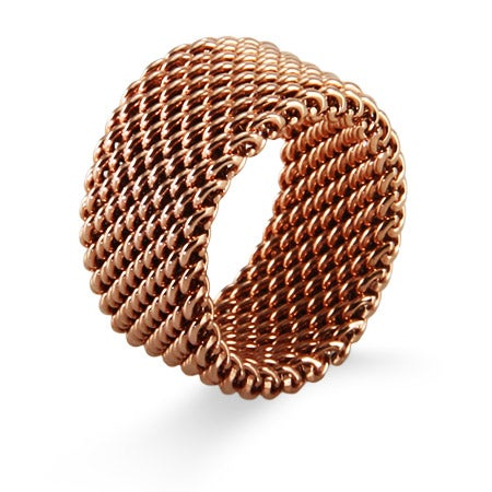 Designer Style Rose Gold Mesh Ring | Eve's Addiction®