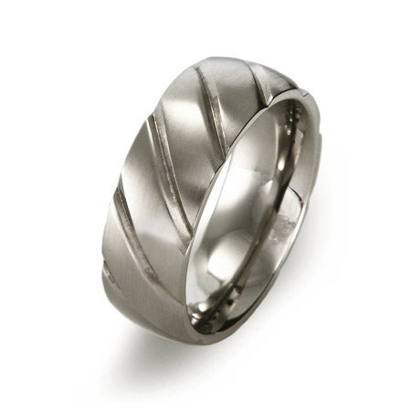 Men's Grooved Stainless Steel Comfort Fit Band | Eve's Addiction®