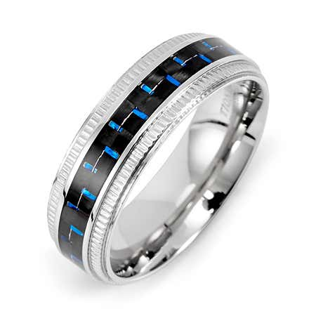 display slide 1 of 2 - Men's Blue Carbon Fiber Stainless Steel Band  - selected slide