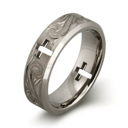 Handcrafted Vine and Cross Cut Out Titanium Ring