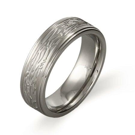 Men's Tree Bark Design Ring in Stainless Steel | Eve's Addiction®