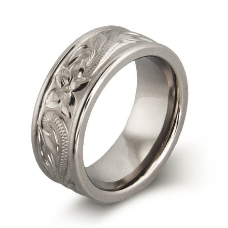 Engravable Handcrafted Heirloom Design Engraved Titanium Ring | Eve's Addiction®