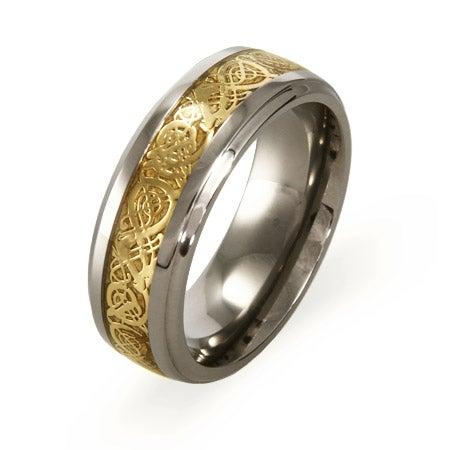 Engravable Golden Dragon Design Titanium Comfort Fit Band | Eve's Addiction®