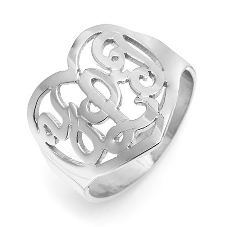 Custom Monogram Heart Ring in Sterling Silver | Eve's Addiction®