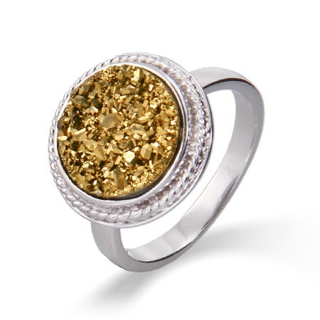 Round Sterling Silver Cabled Golden Drusy Ring | Eve's Addiction®