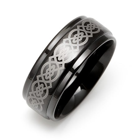 Celtic Design Engravable Black Plate Tungsten Ring | Eve's Addiction®