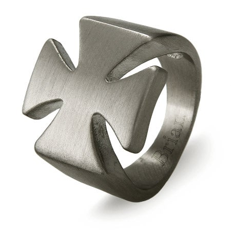 Men's Stainless Steel Engravable Iron Cross Ring | Eve's Addiction®