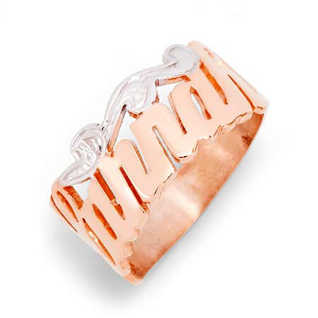 Rose Gold Vermeil Custom Script Name Ring