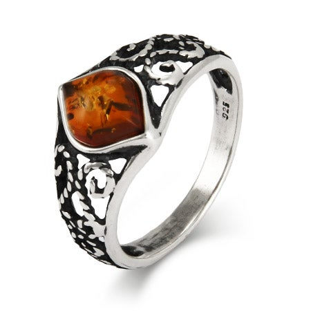 Antique Scroll Design Sterling Silver Baltic Amber Ring | Eve's Addiction®