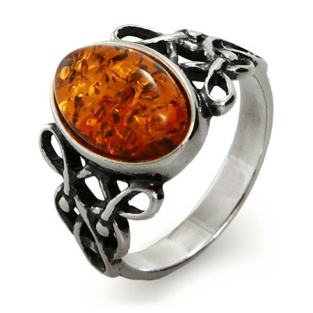 Woven Celtic Knot Genuine Baltic Amber Ring | Eve's Addiction®